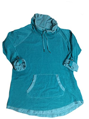 Calvin Klein Womens' Performance Wear Funnel Neck Roll Sleeve Pullover (Medium, Teal)