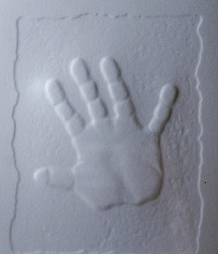 White Embossed Baby Handprint Cards