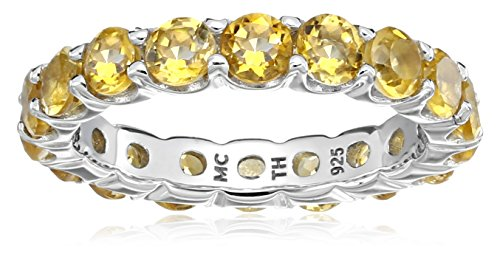 Citrine Eternity Ring in Sterling Silver (4mm), Size 5