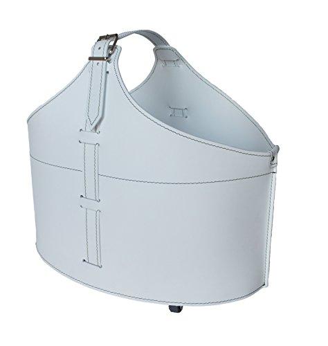 FABIA: borsa in cuoio portalegna e/o pellet, in cuoio rigenerato colore Bianco, con ruote gommate.