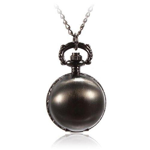 Retro Ball Metal Quartz Necklace Pendant Chain Pocket Watch Bright Black