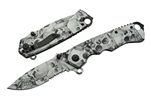Szco Supplies 300262 Assisted Opening Skull Folding Knife, Black/Grey by SZCO Supplies, Inc.