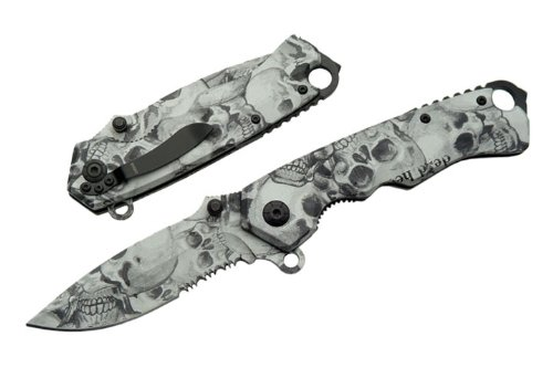 Szco Supplies 300262 Assisted Opening Skull Folding Knife, Black/Grey