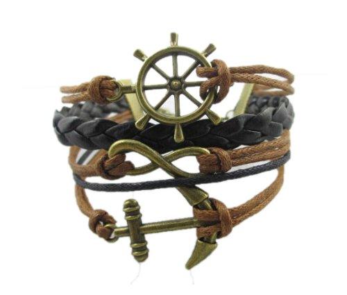 Vintage Nautical Rudder Anchor Bracelet Infinity