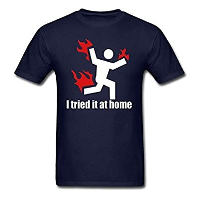 I TRIED IT AT HOME science project funny - Mens Cotton T-Shirt