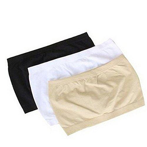 Museya 3 non colori base Layer elasticizzato tubo reggiseno Bandeau Top femminile Pad cassa wrap - taglia L (nero bianco nudo)