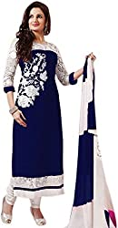Style Amaze Georgette Blue Dress Material