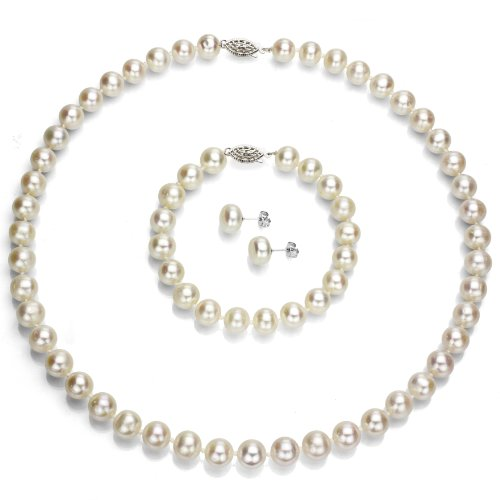 Sterling Silver 9-10mm White Cultured Freshwater Pearl Necklace 18