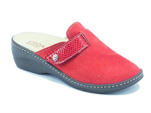 Ciabatte Cinzia Soft in camoscio rosso con sottopiede estraibile (Taglia 38)