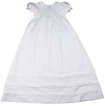 Baby Girl Linen Christening Baptism Gown with Cross and Hat - NB (0-3 Month)