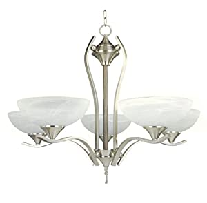 Yosemite Hime Decor Glacier Point Chandelier with Ivory Cloud Shades, 5-Light, Sating Nickel
