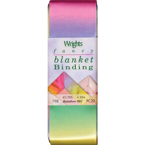 Cheap Wrights 117-798-002 Printed Single Fold Satin Blanket Binding, Rainbow, 4.75-Yard
