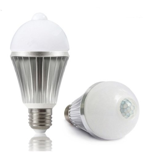 Hkbayi New 5-8M E27 85-260V 5W 450Lm Led Infrared Motion Sensor Pir White Light Bulb Lamp Aluminum