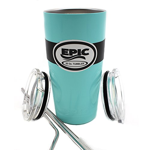 "EPIC Seafoam-Blue 20 oz Stainless Steel Powder Coated Travel Tumbler Insulated Cup and Mug same technology as Yeti with 2 Lids and 2 Stainless Steel Straws 8.5"" with brush"