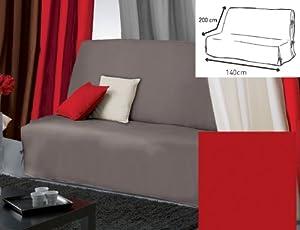 Douceur d'Intérieur 1603856 Panama Housse de BZ Nouettes Polycoton Rouge 140 x 200 cm
