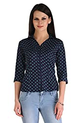 ZAIRE Women's Fashionable Polka Dotted 3/4 Sleeves Semi Crepe Top (2266-3/4TH,Navy Blue,L)