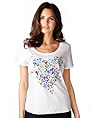 Per Una Pure Cotton Heart & Floral Print Top