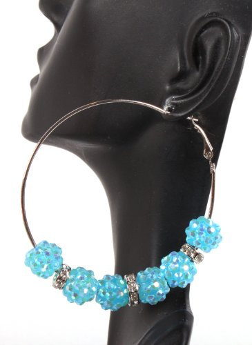 Basketball Wives Earrings Blue 2.5 Inch Hoops with Six 10mm Shamballah Balls and Iced Out Rondelle Spacers Lady Gaga Paparazzi Mob Wives