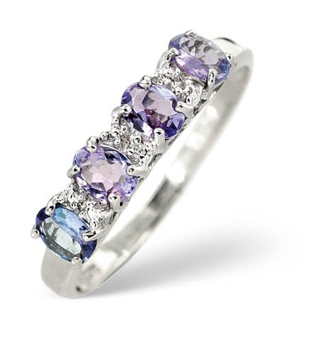 Finest UK Jewellery Ladies 18K White Gold Diamond And Tanzanite Half Band Cluster Ring L2178