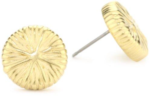 T Tahari Gold Textured Button Earrings