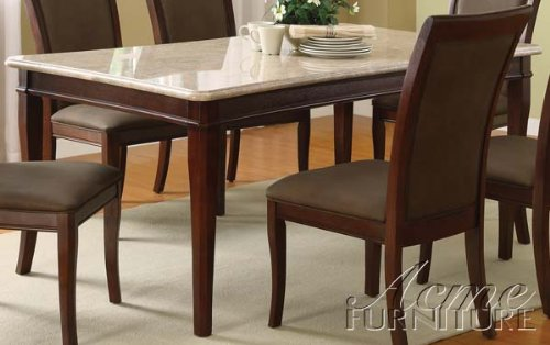 ACME 70060 Britney White Marble Top Dining Table Cherry Finish