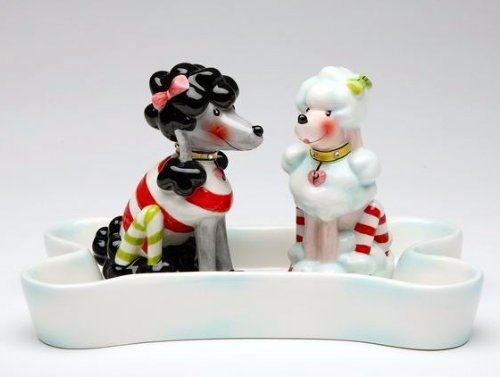 Appletree Design Ruby's Collection 2 Dogs Salt and Pepper Set, Base 6 1/4-Inch, Shakers 3-3/8-Inch