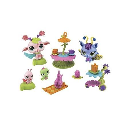 Littlest Pet Shop - 39998 - Poupée et Mini-Poupée - Gouter au Clair de Lune : Violet Bell #2677 + Chenille #2678 - Cherry #2676 + Coccinelle #2679