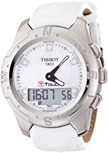 Tissot T-Touch II White Mother of Pearl Diamonds Ladies Watch T0472204611600