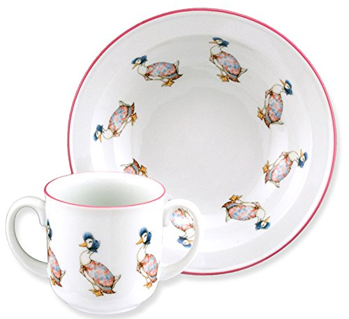 Jemima Puddleduck - 2 Piece Porcelain Dining Set - 2 Handled Mug & Cereal Bowl - 1