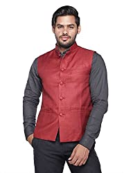 Vishal Men Maroon Nehru Jacket