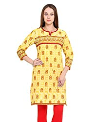 Adyana Women's Kurti (AD051_Yellow_Large)