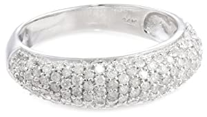 14k White Gold Pave Diamond Ring (3/4 cttw, H-I Color, I3 Clarity), Size 6