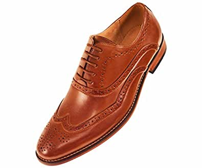amali mens smooth wingtip oxford dress shoe with wood