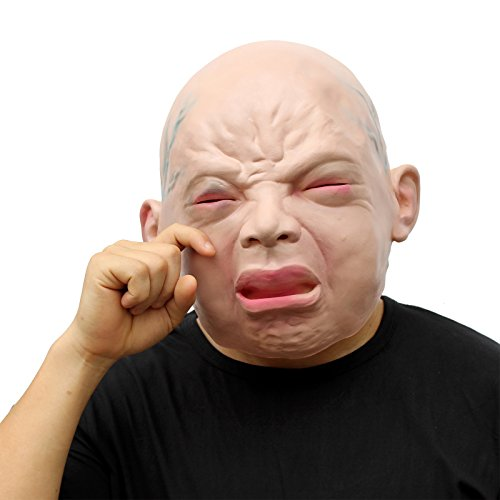CreepyParty Novelty Halloween Costume Party Latex Head Mask Cry Baby
