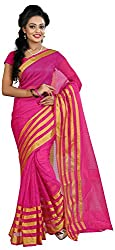 MADEII E-commerce Women's Cotton Saree with Blouse Piece (Pink)