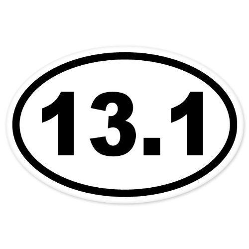 13.1 , I Make DecalsTM, Oval Half Marathon Run car bumper window sticker 5