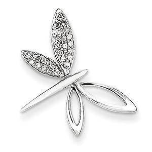 Genuine IceCarats Designer Jewelry Gift 14K Wg Diamond Dragonfly Pendant In 14K White Gold