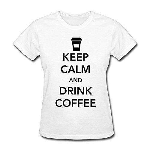 Custom Made Girlfriends Keep Calm Drink Coffee Teeshirt Xs White