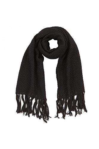 ANTA Q'ULQI - Lunga stola a maglia con frange (260cm x 60cm) 100% in lana di baby alpaca - Nero, Taglia unica
