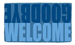 SHOE MAX YH 101060 Kokos Fussmatte mit rutschfester Latexunterseite ca. 74 x 44 cm Welcome/Goodbye blue