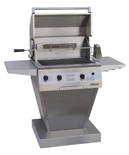 Solaire 27-Inch Deluxe Infravection Propane Pedestal Grill With Rotisserie Kit, Stainless Steel