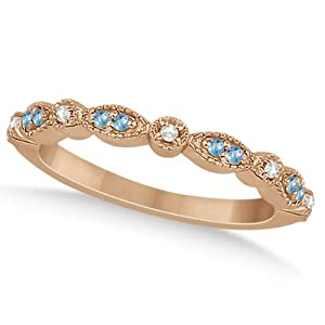 Marquise and Dot Design Pave Blue Topaz and Diamond Wedding Band in 18k Rose Gold 0.25ct