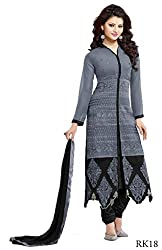 Gopal Retail Georgette Embroidered Semi-stitched Salwar Suit Dupatta Material(greyangaroop_Gery)