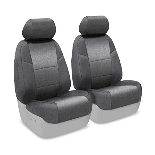 Coverking Front 50/50 Bucket Custom Fit Seat Cover For Select Subaru Forester Models - Velour (Gray) front-1063105