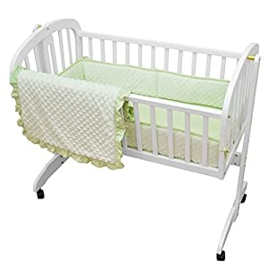 American Baby Company Heavenly Soft Minky Dot 3-Piece Cradle Set, Celery