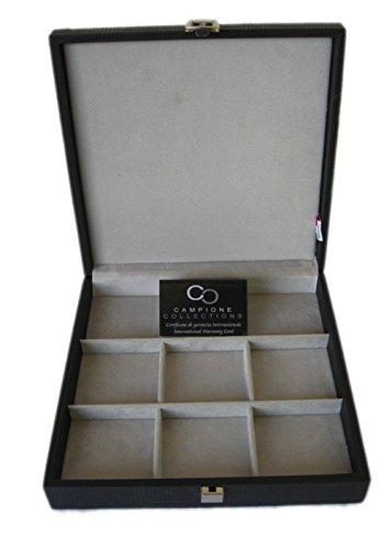 Campione Collections Portaorologi Scatola custodia Cofanetto per 9 orologi tascabili da tasca in eco pelle