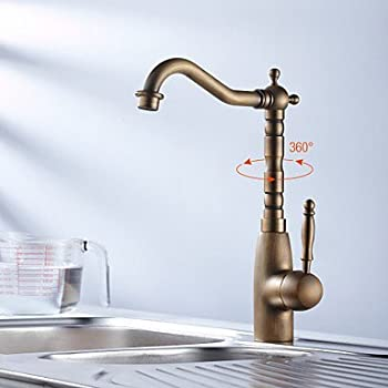 ELEOPTION® Retro Styling Antique Brass Kitchen Tap Faucet 360 Degree Swivel Basin Mixer Basin Valve Tap Bathroom Kitchen Fittings with Hot and Cold Controller (200353)