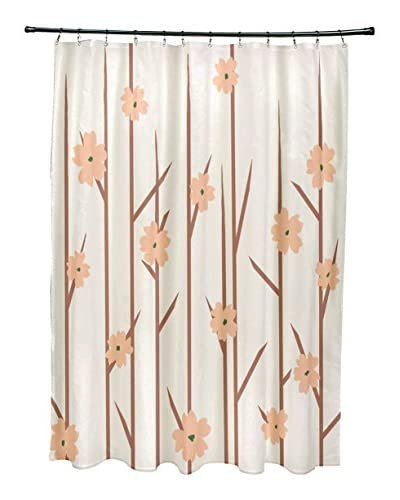 e by design Floral Branches Shower Curtain, Ivory/Peach