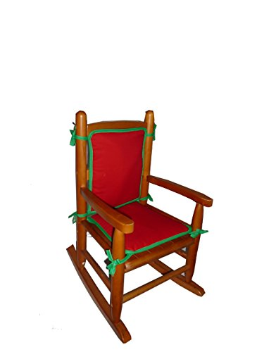 Baby Doll Holiday Solid Reversible Junior Rocking Chair Pad, Red/Green