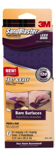 3M SandBlaster Flexible Sanding Pad, 120-Grit, 3.7-Inch by 9.25-Inch, 2-Sheet